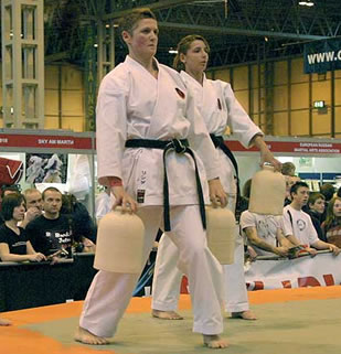 Sensei Linda Marchant leading a demonstration of Nigiri Game use at the Seni 2006 Combat Sports Show