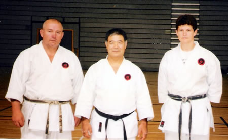 Sensei George Andrews with Shihan Higaonna and Sensei Marchant at a Gasshuku in Sheffield in 1997